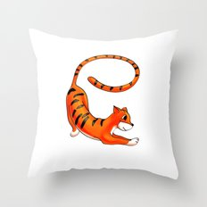 e Is For . . . Tiger In The Animal Alphabet Throw Pillow