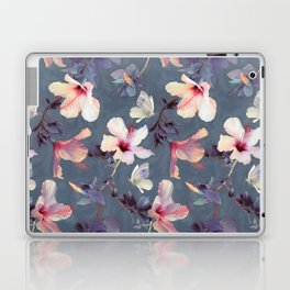 Butterflies and Hibiscus Flowers - a painted pattern Laptop & iPad Skin