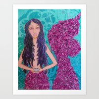 fitzgerald Art Prints featuring Cordelia Fitzgerald the Mermaid by inara77