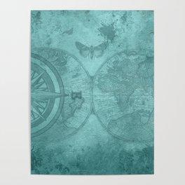 Pirate leggings | World navigator | Steampunk | Witchy leggings | Gym Poster