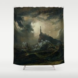 Carl Blechen - Stormy Sea with Lighthouse - German Romanticism - Oil Painting Shower Curtain