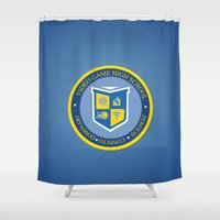 video game Shower Curtains featuring THE CREST of video game high school  by studiomarshallarts