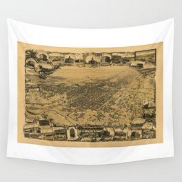 Aerial View of Stockton, California (1895) Wall Tapestry
