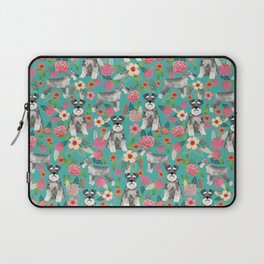 Schnauzer florals dog must have gifts for schnauzers pure breed Laptop Sleeve