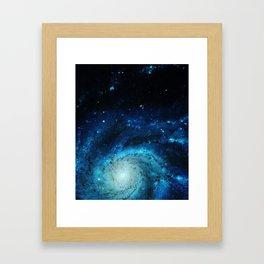 Teal Pinwheel Galaxy Framed Art Print
