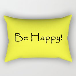 Be Happy - Black and Yellow Design Rectangular Pillow