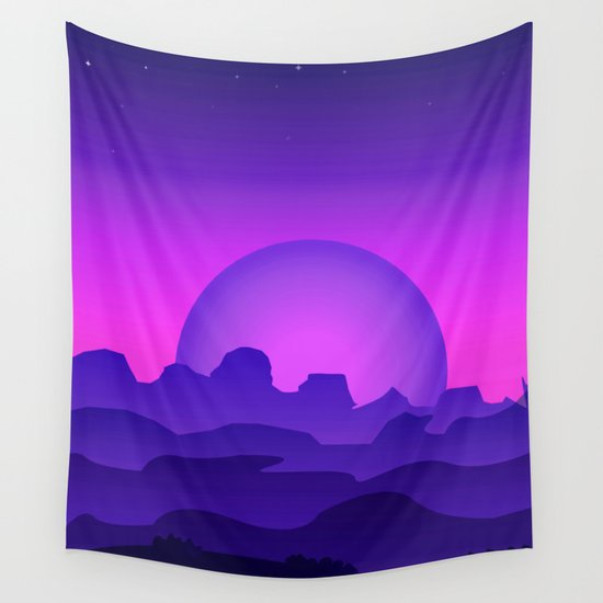 Night Landscape Wall Tapestry