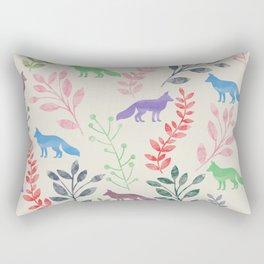 Watercolor Floral & Fox III Rectangular Pillow