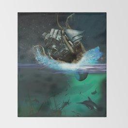 Kraken Attack Throw Blanket
