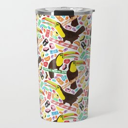 Toucandy - rainbow sweets and licorice surround tropical toucans on candy canes Travel Mug