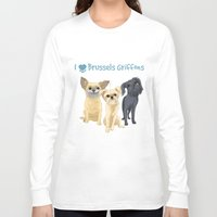 brussels Long Sleeve T-shirts featuring Brussels Griffon by Bark Point Studio