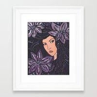 beth hoeckel Framed Art Prints featuring Beth by Annotated Audrey
