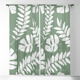 Monstera and Leaf green Sheer Curtain