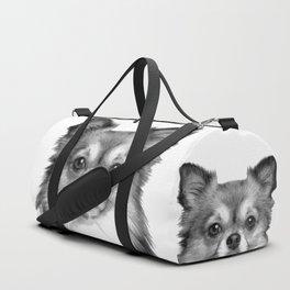 Black and White Chihuahua Duffle Bag