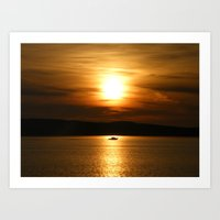 Small boat sailing into the Sunset, Millport, Scotland Art Print