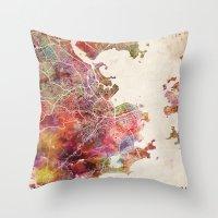 rio de janeiro Throw Pillows featuring Rio de Janeiro by MapMapMaps.Watercolors