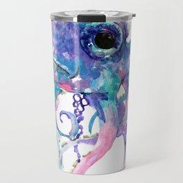 Octopus, Pink purple sea animals design underwater scene painting Travel Mug