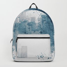 Blue Miami watercolor skyline design Backpack