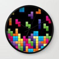 tetris Wall Clocks featuring Tetris Troubles. by Digi Treats 2