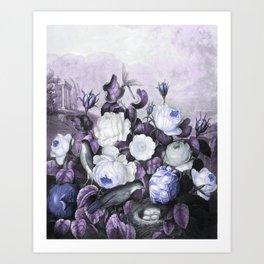 Periwinkle Roses Gray Birds Temple of Flora Art Print