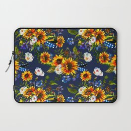 Modern yellow orange blue watercolor sunflower floral pattern Laptop Sleeve