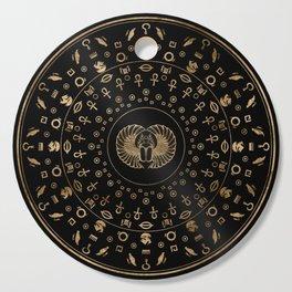Golden Egyptian Scarab Beetle - in circular pattern Cutting Board