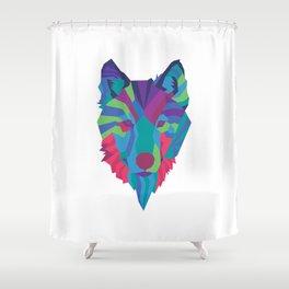 Neon Wolf Shower Curtain
