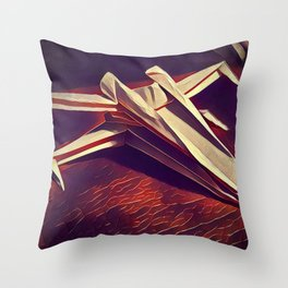 Space Fold - Warm Tones Throw Pillow