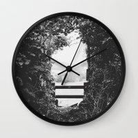 uk Wall Clocks featuring UK countryside by SassySnark