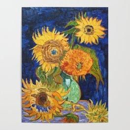Van Gogh, Five Sunflowers 1888 Artwork Reproduction, Posters, Tshirts, Prints, Bags, Men, Women, Kid Poster