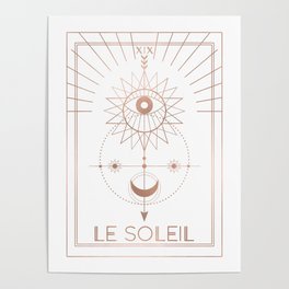 Le Soleil or The Sun Tarot White Edition Poster