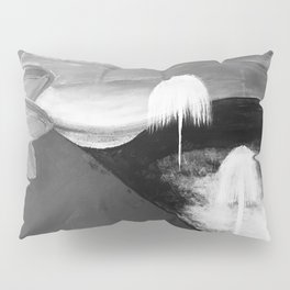 Abstract Flowers. Black and White. Flowers. Mountains. Landscape Pillow Sham