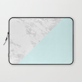 White Marble with Pastel Blue and Grey Laptop Sleeve