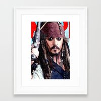 jack sparrow Framed Art Prints featuring Jack Sparrow by Brian Raggatt