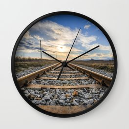 Old Railroad Stretching Into the Sunset Wall Clock