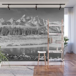 GRAND TETON WINTER BLACK & WHITE WYOMING NATIONAL PARK Wall Mural