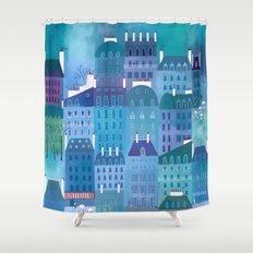 Paris Blues Shower Curtain