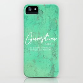 Gumption Definition - Word Nerd - Turquoise Texture iPhone Case