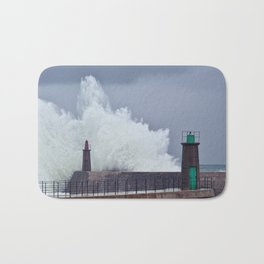 Stormy wave over old lighthouse. Bath Mat