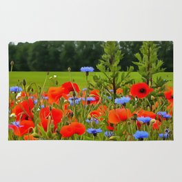 Poppies And Cornflowers Rug