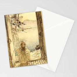 Arthur Rackham - Fouqué - Undine (1909) - A beautiful little girl clad in rich garments Stationery Cards
