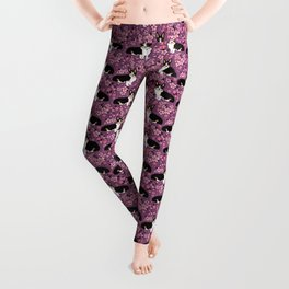 Welsh corgi tricolored cherry blossoms botanical florals japanese flowers dog breed corgis Leggings