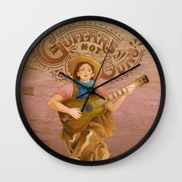 Guitars Not Guns Wall Clock