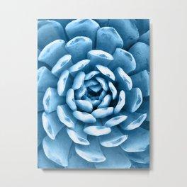 Watercolor Succulent Blue Metal Print