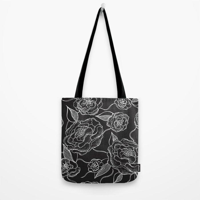 Floral Pattern B&W Tote Bag