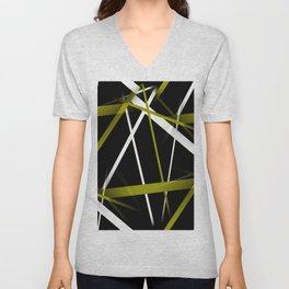 Seamless Olive Green and White Stripes on A Black Background Unisex V-Neck
