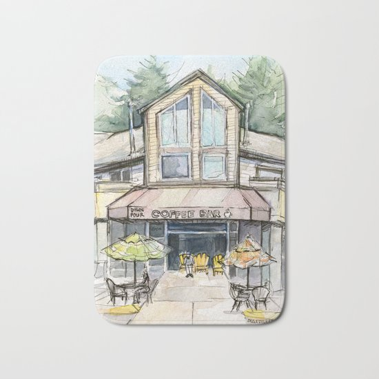 Coffee Shop Art Urban City Watercolor Bath Mat