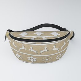 Gold & White Christmas Ugly Sweater Nordic Knit Fanny Pack