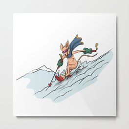 Cat on ski in deep snow Metal Print