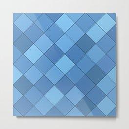 Blue tiles pattern Metal Print